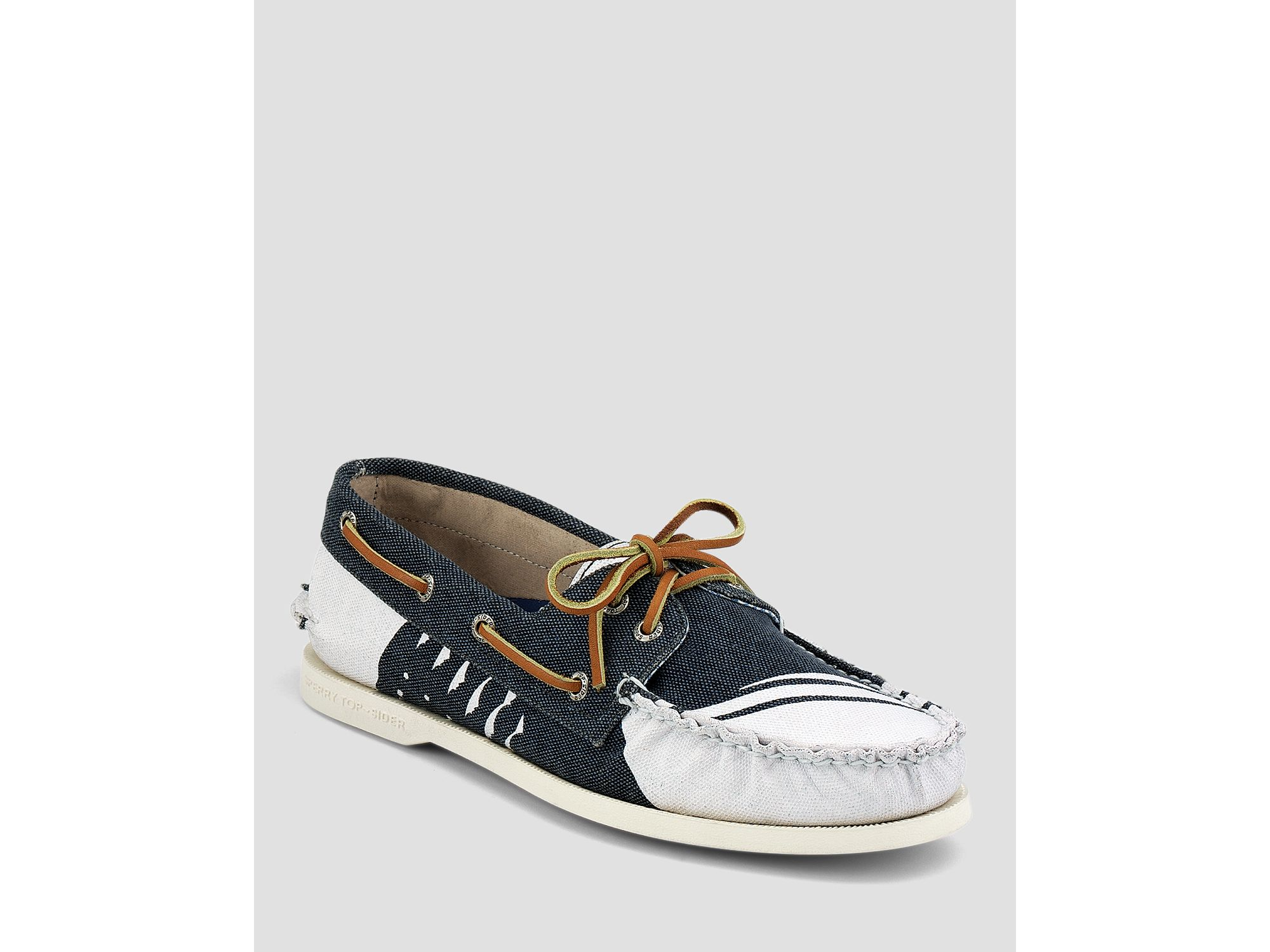 sperry top sider painted canvas boat shoes in white