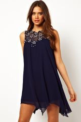 Tfnc Swing Dress in Jewelled Crochet - Lyst