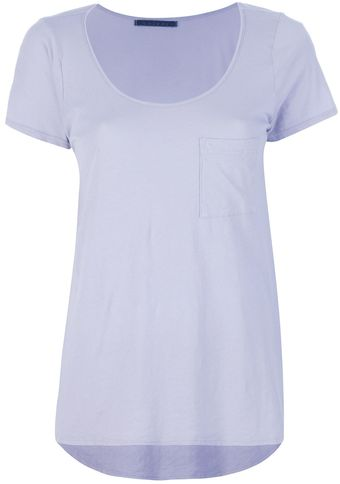 Velvet Scoop Neck T-shirt - Lyst