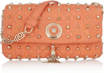 Versace Studded Leather Shoulder Bag - Lyst