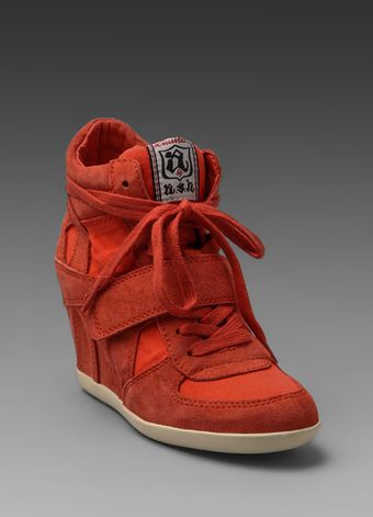 Ash Bowie Wedge Sneaker in Coral - Lyst