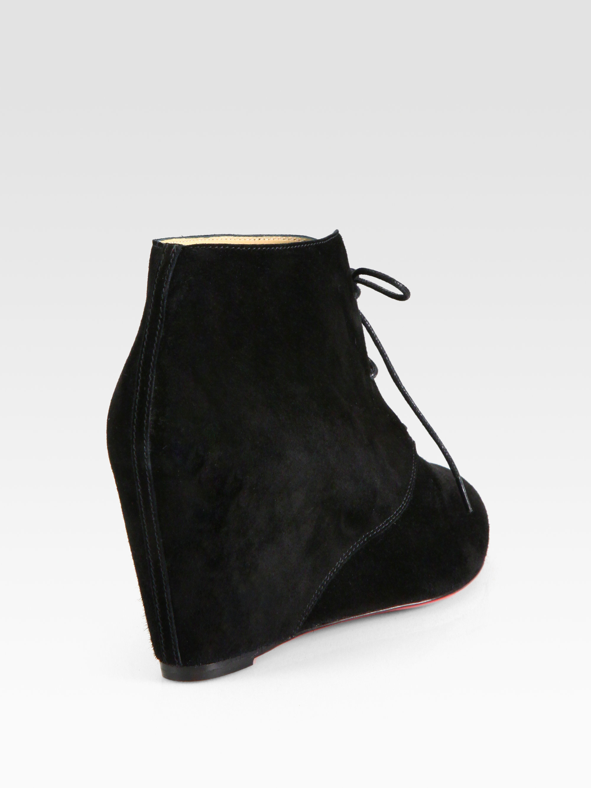 Christian louboutin Laceup Suede Wedge Ankle Boots in Black | Lyst
