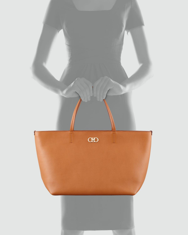 Lyst - Ferragamo Bice Pebbled Leather Tote Bag in Brown f01446b04e845
