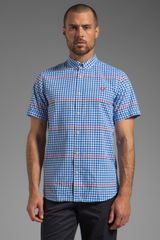 Fred Perry Tipped Gingham Shirt in White - Lyst