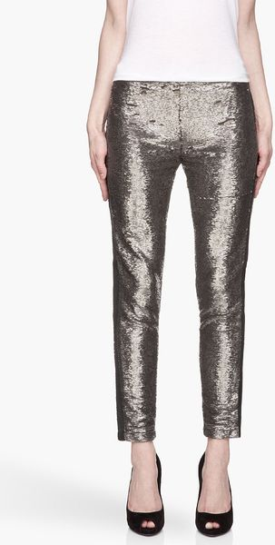 Iro Grey and Gold Heavily Sequined Slim Trousers - Lyst