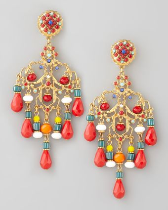 Jose & Maria Barrera Beaded Chandelier Clip Earrings - Lyst