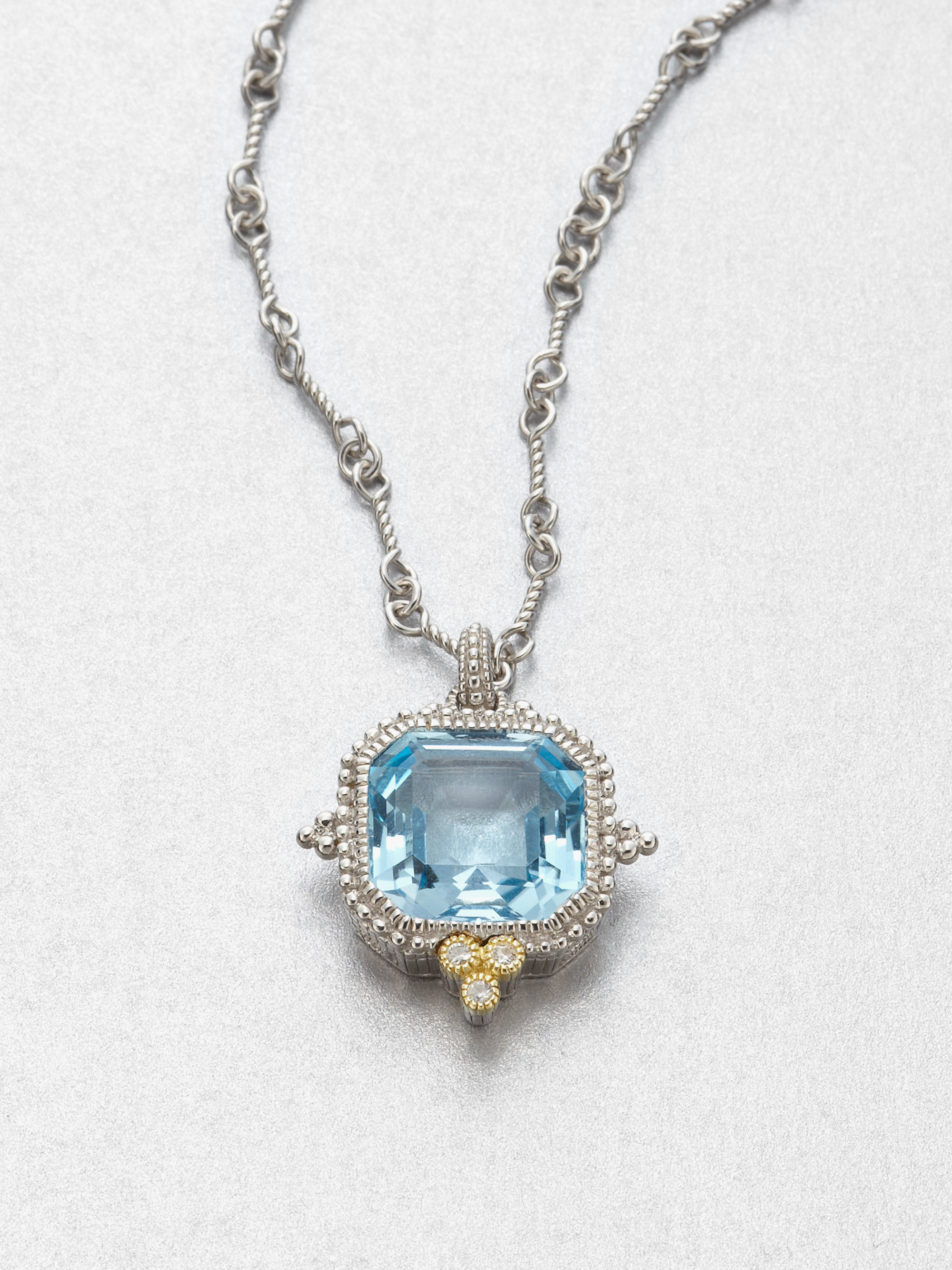 Lyst judith ripka blue topaz sterling silver pendant necklace in blue gallery aloadofball Gallery