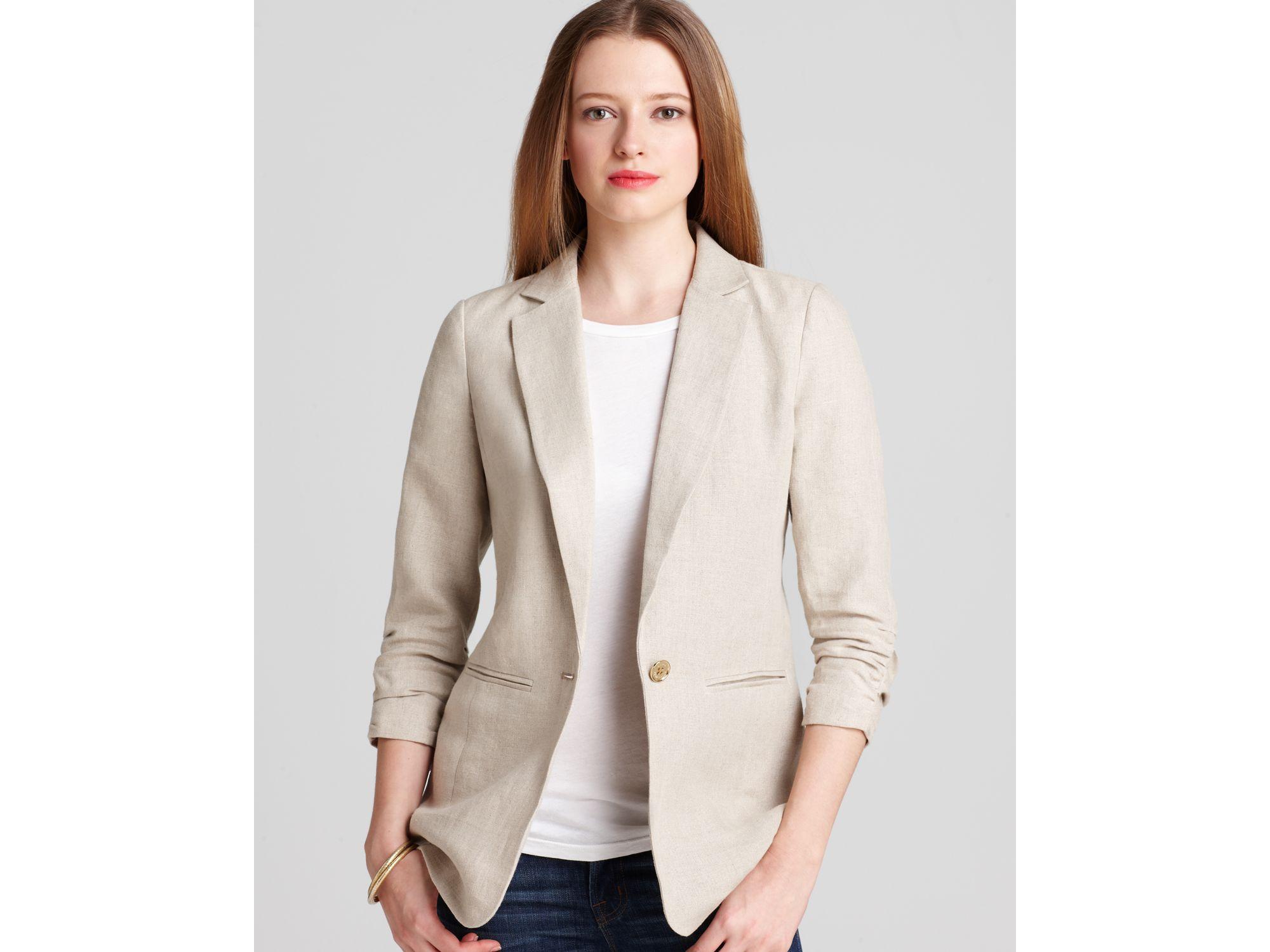 f8deac374cca6 Lyst - MICHAEL Michael Kors Linen Shirred Boyfriend Jacket in Natural