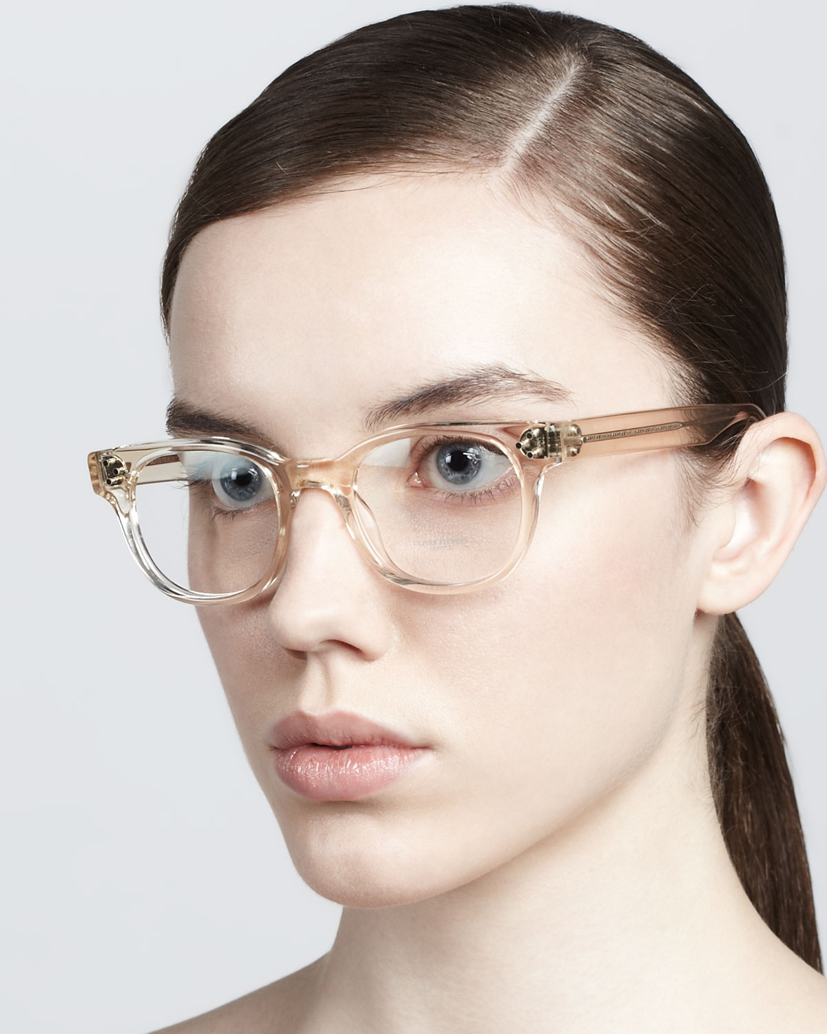 Oliver Peoples Afton Clear Fashion Glasses In Brown Lyst