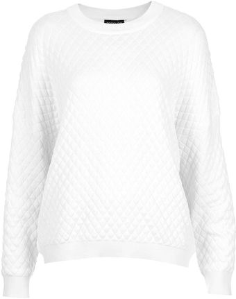 Topshop Knitted Quilted Sweat - Lyst