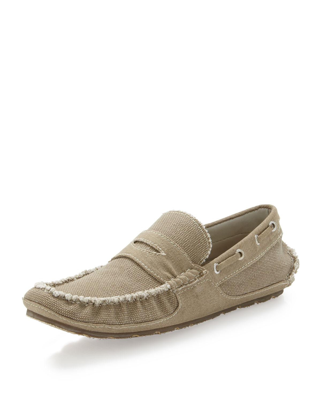 true religion canvas slipon loafer beige in beige