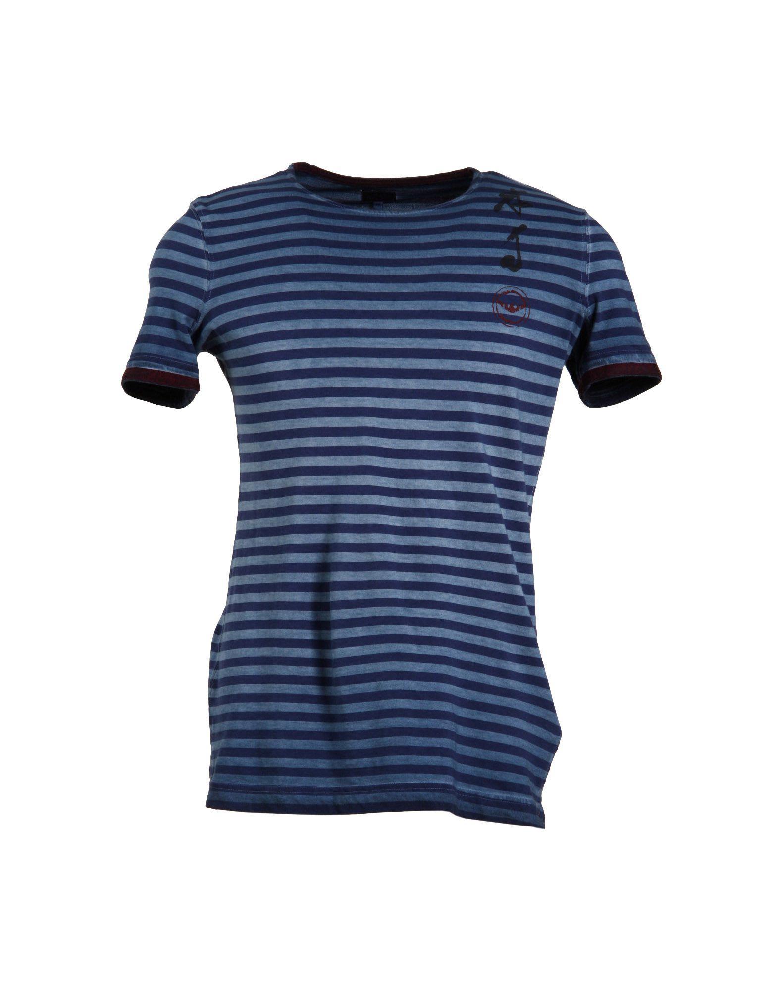 armani jeans short sleeve t shirt in blue for men lyst. Black Bedroom Furniture Sets. Home Design Ideas