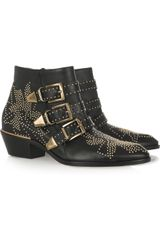 Chloé Studded Leather Ankle Boots - Lyst