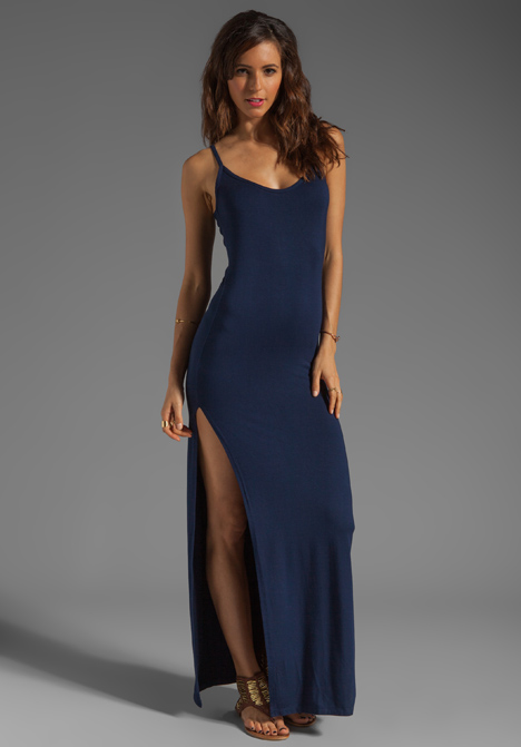 Daftbird Long Thin Strap Tank Dress With Slit In Navy In