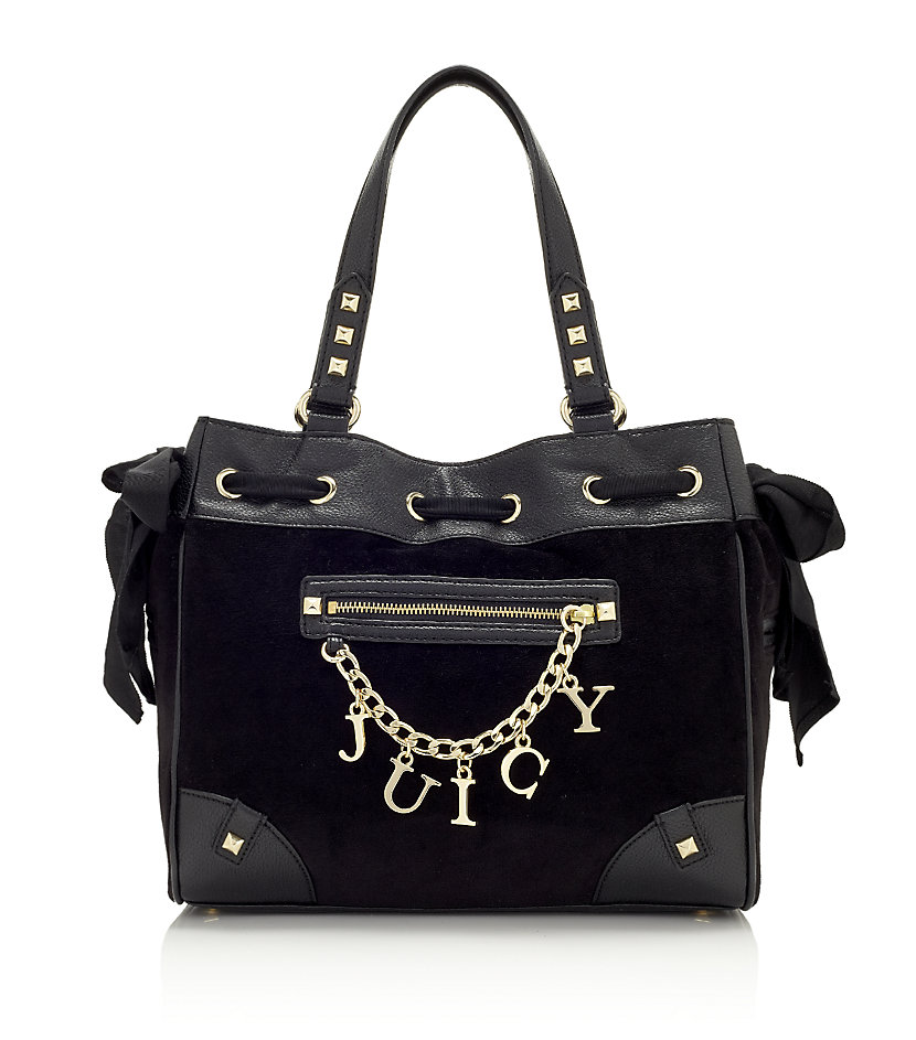 Juicy Couture Charm Velour Daydreamer Bag in Black (gold ...