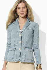 Lauren by Ralph Lauren Light Wash Denim Blazer - Lyst