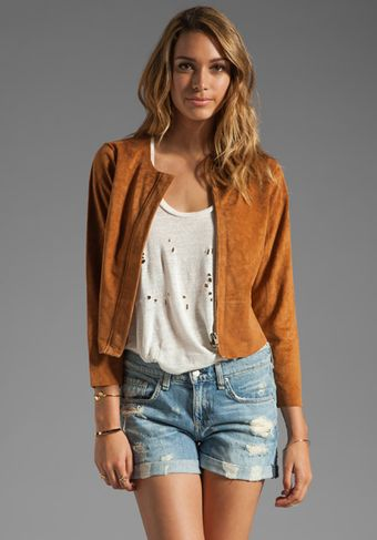 Plenty By Tracy Reese Suede Fringed Jacket in Adobe - Lyst