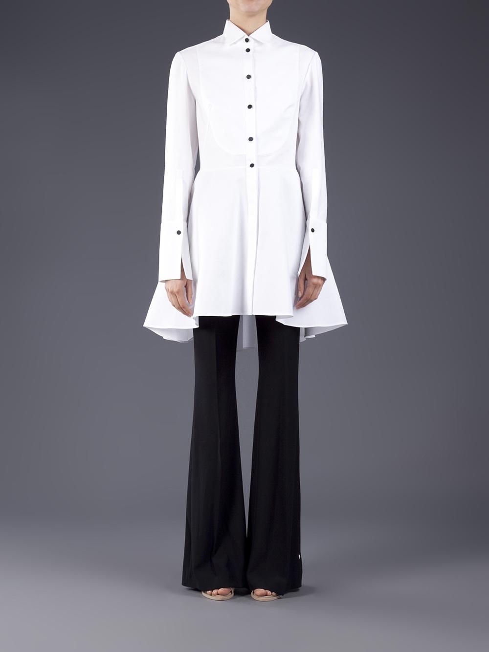 Alexander Mcqueen Tuxedo Shirt Dress In White Lyst