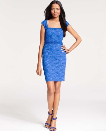 Ann Taylor Petite Corded Lace Sheath Dress - Lyst