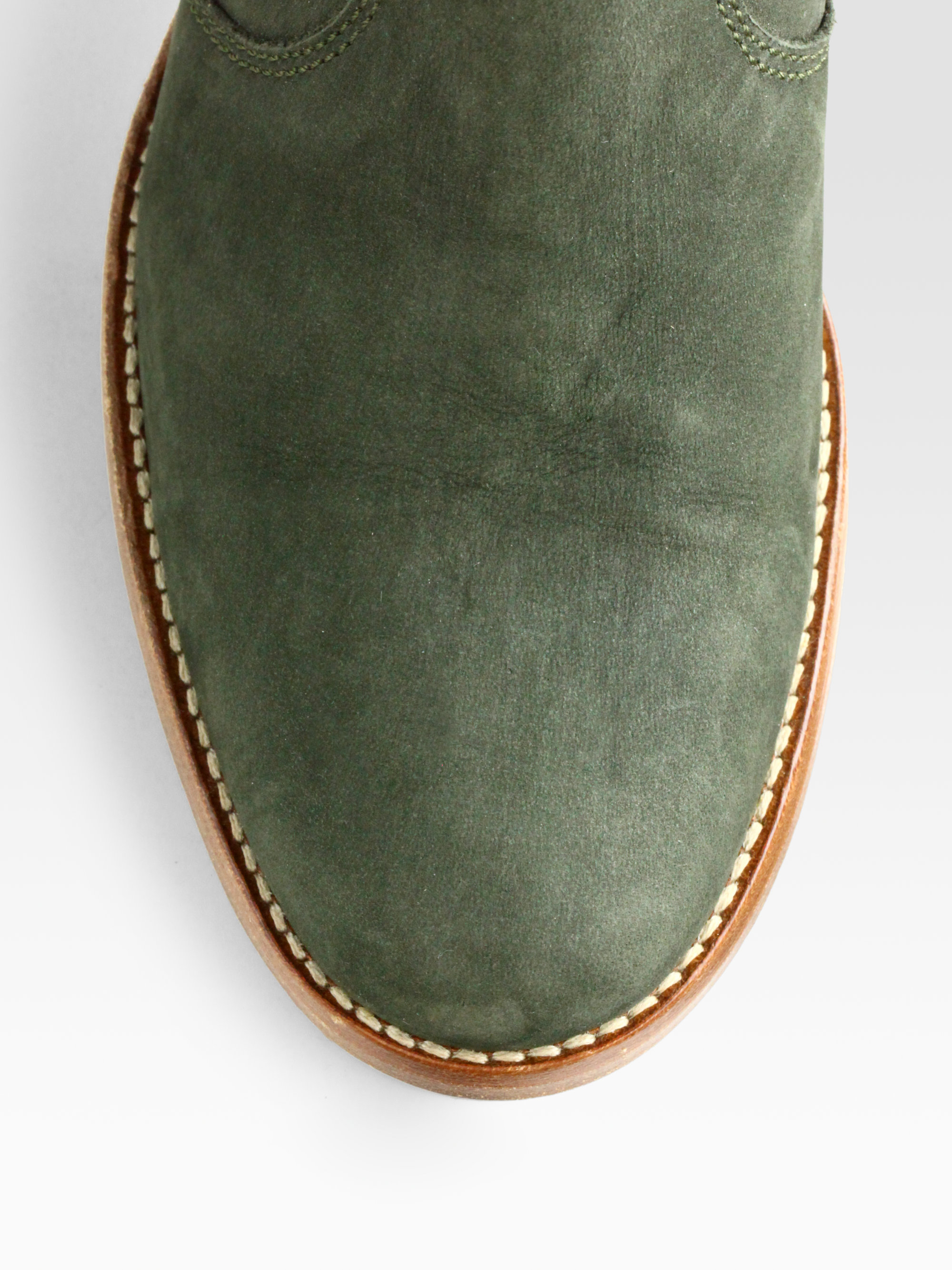 Lyst A P C Nubuck Leather Ankle Boots In Green