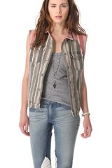 April, May Square Striped Jean Vest - Lyst