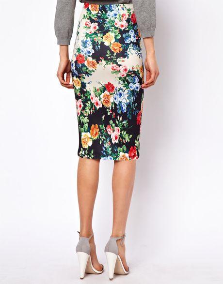 asos pencil skirt in floral print in green print lyst