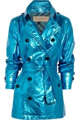 Burberry Brit Short Metallic Coated cotton Trench Coat