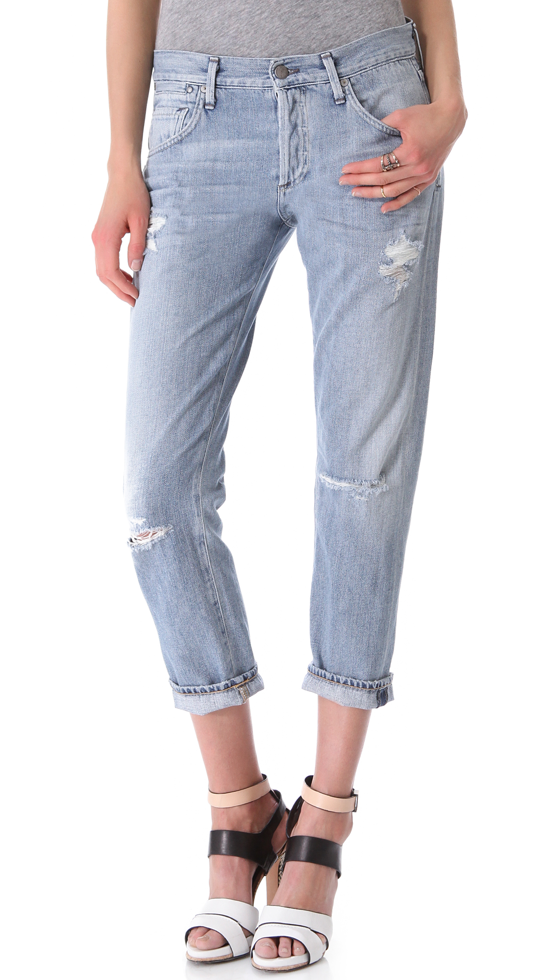 citizens of humanity dylan boyfriend jeans in blue lyst. Black Bedroom Furniture Sets. Home Design Ideas