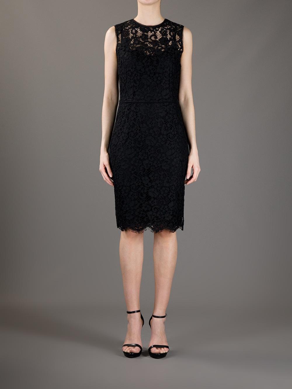 Lyst Dolce Amp Gabbana Lace Sheath Dress In Black