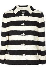 Dolce & Gabbana Striped Cotton blend Jacquard Jacket - Lyst