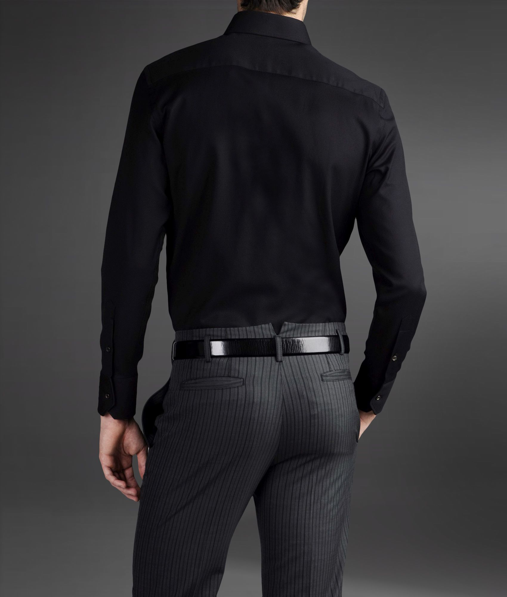 lyst emporio armani long sleeve shirt in black for men