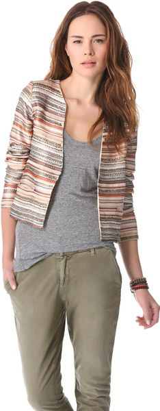 Love Sam Embroidered Stripe and Sequin Jacket - Lyst