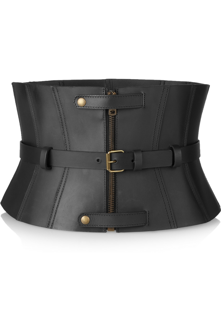 Mcq Leather Corset Belt In Black