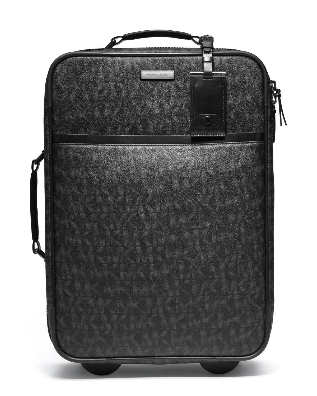 michael kors logo pvc rolling suitcase in black for men lyst. Black Bedroom Furniture Sets. Home Design Ideas