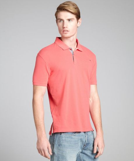 Paul Smith Coral Cotton Short Sleeve Polo Shirt In Pink