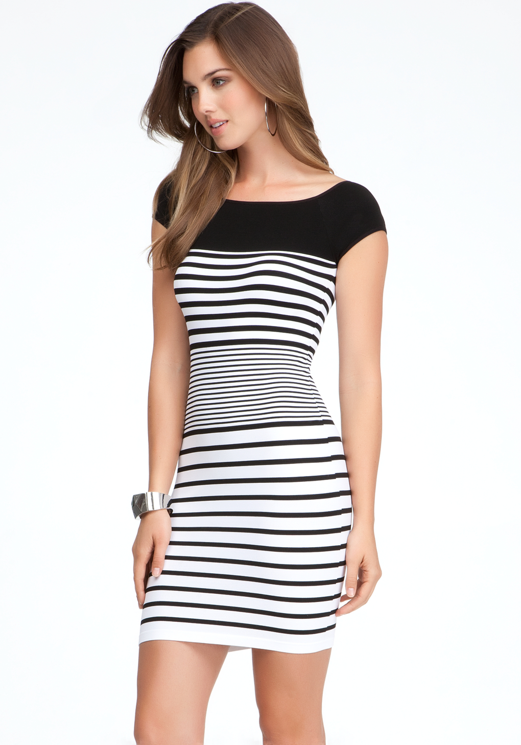 Bebe black and white colorblock dress