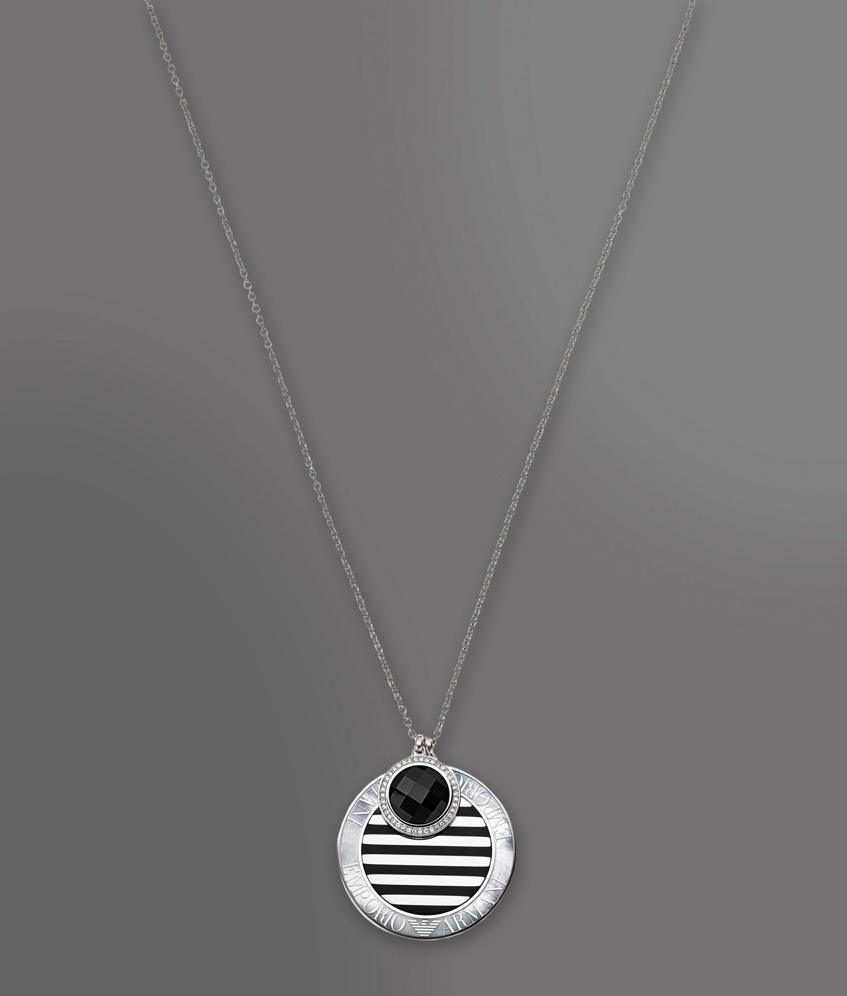 emporio armani necklace in onyx and of pearl in
