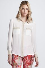 Haute Hippie Colorblock Silk Blouse - Lyst