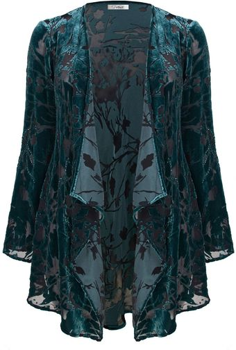 Ann Harvey Emerald and Black Devore Leaf Jacket - Lyst