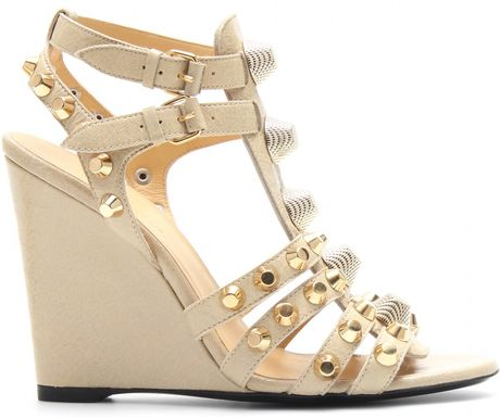 Balenciaga Suede And Leather Studded Wedges In Beige Dune