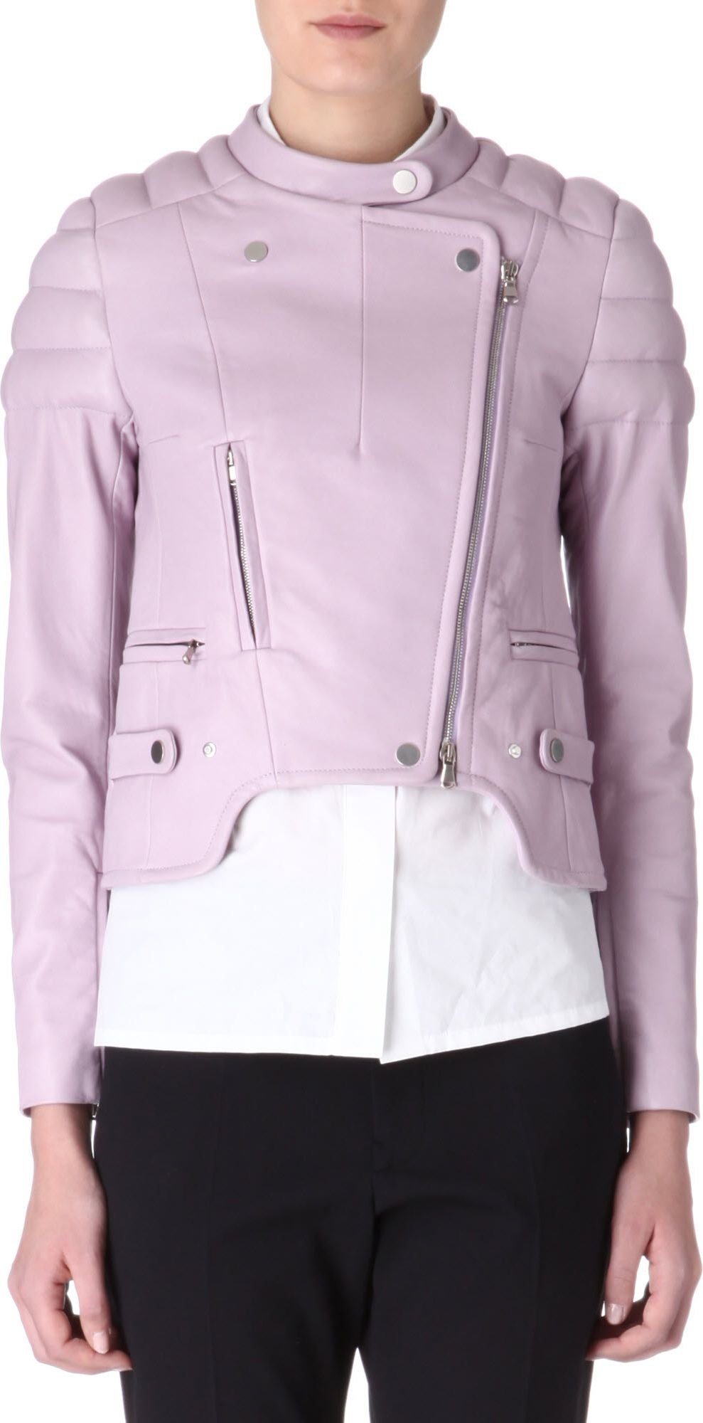 Carven Padded Shoulder Leather Jacket In Pink Lilac Lyst