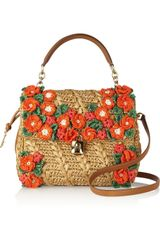 Dolce & Gabbana Miss Dolce Raffia and Leather Shoulder Bag