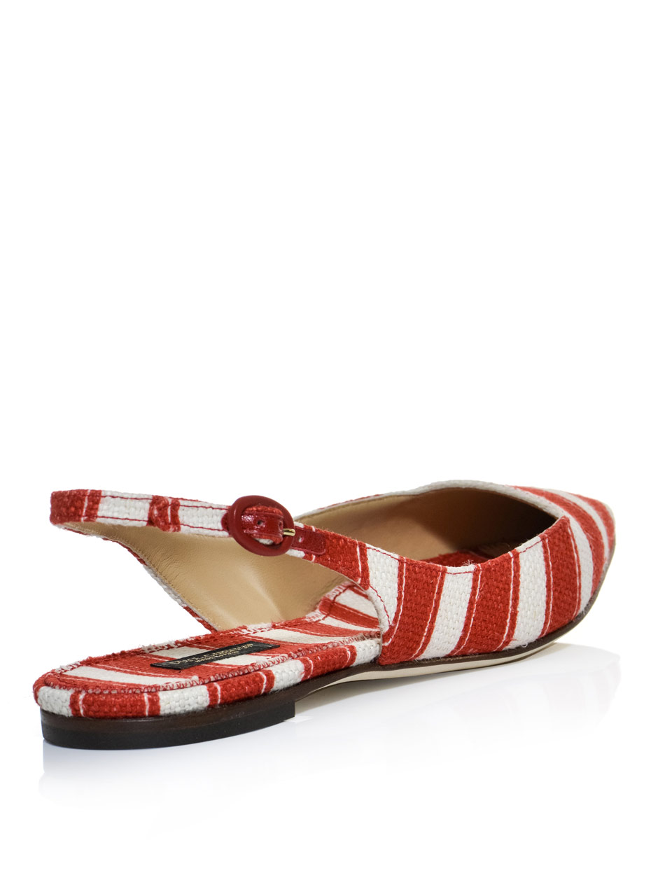 Lyst Dolce Amp Gabbana Belluci Slingback Flat Shoes In Red