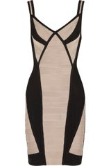 Hervé Léger Two-Tone Bandage Dress - Lyst