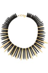 Kenneth Jay Lane Agate and Goldplated and Spike Necklace - Lyst