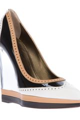 Lanvin Pointed Toe Wedge Pump - Lyst