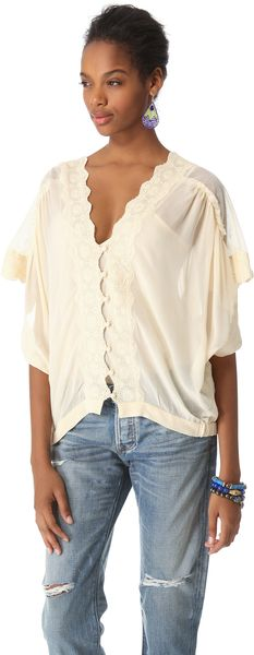 Love Sam Mesh and Lace Button Front Blouse - Lyst