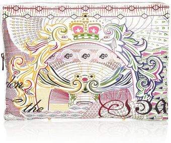 Mary Katrantzou Pound Printed Leather Pouch - Lyst