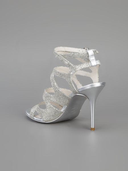 Michael Michael Kors Ankle Strap Sandal In Silver Lyst