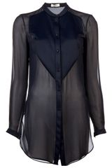 Mugler Sheer Bib Blouse
